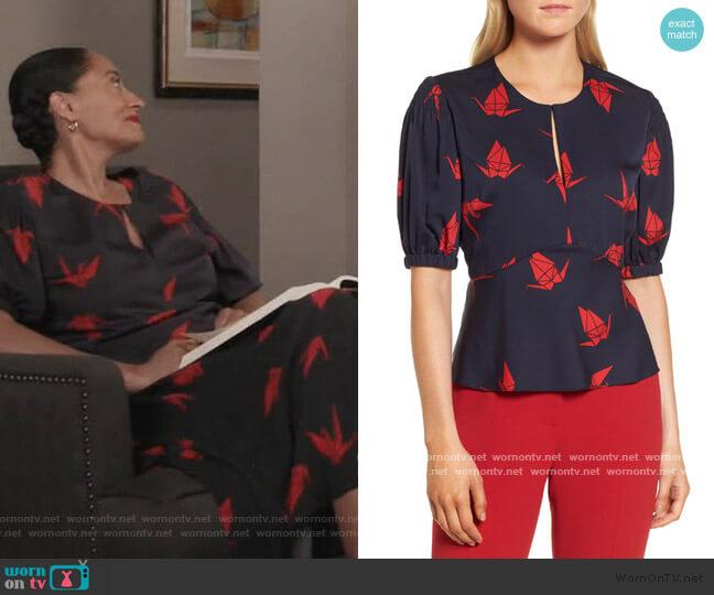 Puffed Sleeve Print Top by Lewit worn by Rainbow Johnson (Tracee Ellis Ross) on Blackish