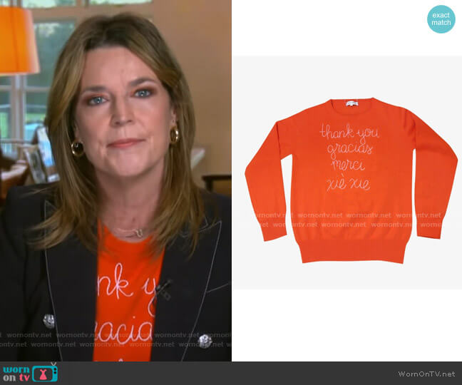 Thank You Sweater by Lingua Franca worn by Savannah Guthrie  on Today