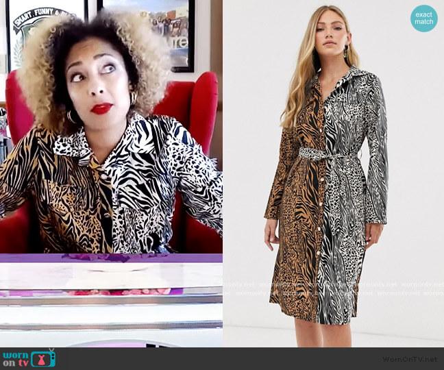 Liquorish midi shirt dress in mixed tiger print by ASOS worn by Amanda Seales  on The Real