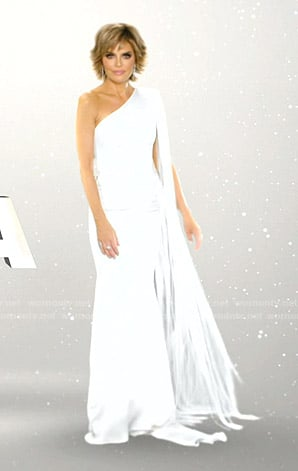 Lisa's white one-shoulder gown on The Real Housewives of Beverly Hills Opening Credits