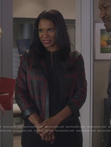 Liz's black leather checked jacket on The Good Fight