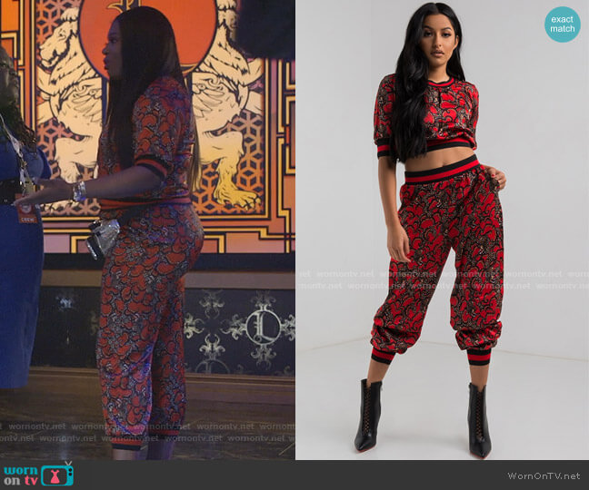 Look Back Print Top and Pant by Akira Label worn by Porsha Taylor (Ta'Rhonda Jones) on Empire