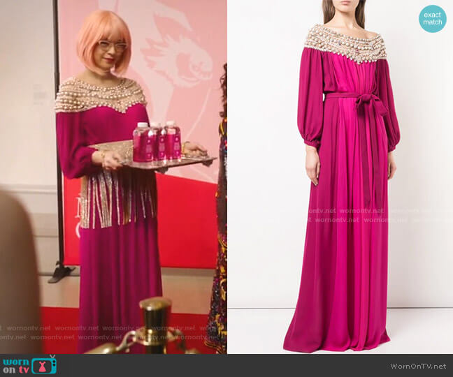 Embellished Neckline Dress by Marchesa worn by Pepper Smith (Julia Chan) on Katy Keene