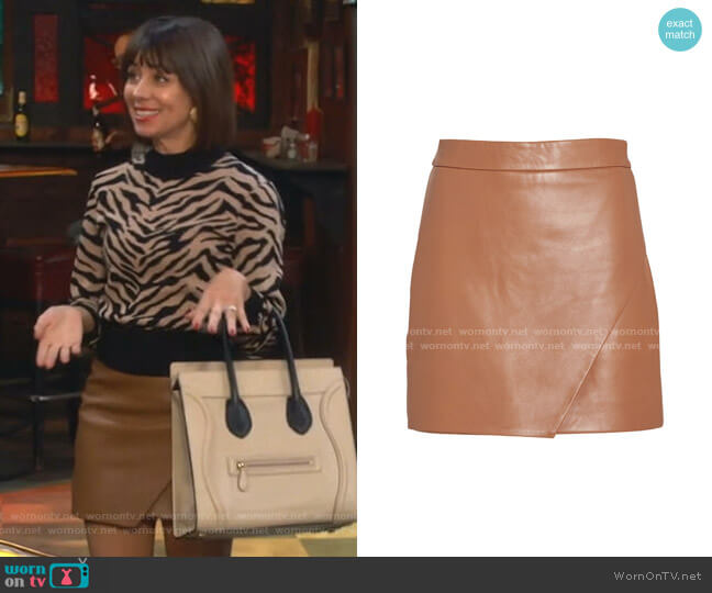 Wrap Leather Mini Skirt by Mason by Michelle Mason worn by Elizabeth (Natasha Leggero) on Broke