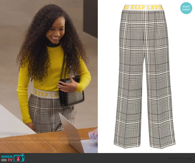 contrast stripe check trousers by Mira Mikati worn by Chloe Barris (Genneya Walton) on BlackAF