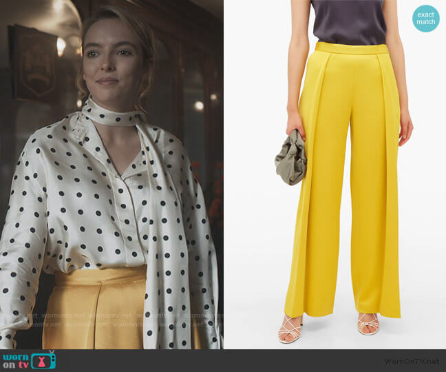 Textured pleat satin trousers by Maison Rabih Kayrouz worn by Villanelle (Jodie Comer) on Killing Eve