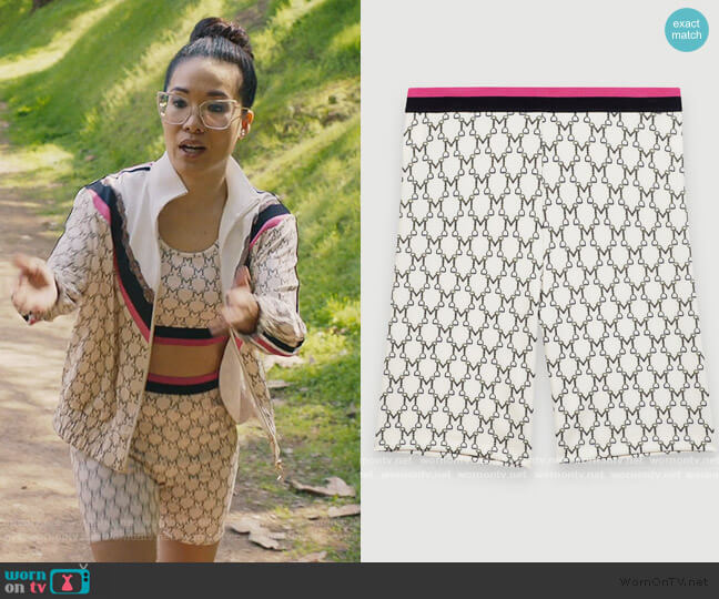 Cycling Shorts in Monogram by Maje worn by Doris (Ali Wong) on American Housewife