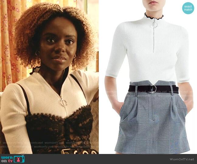 Misty Ribbed Zip-Detail Sweater by Maje worn by Josie McCoy (Ashleigh Murray) on Katy Keene