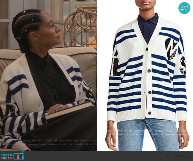 Murmur Striped & Sequined Cardigan by Maje worn by Rainbow Johnson (Tracee Ellis Ross) on Blackish