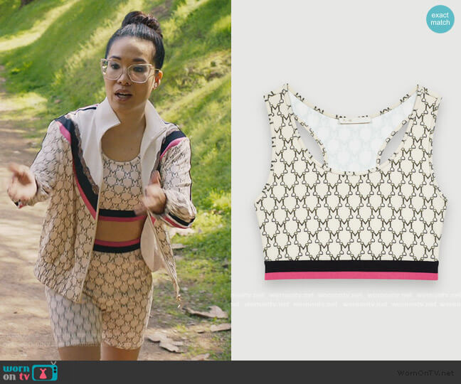 Sporty Croptop in Monogram by Maje worn by Doris (Ali Wong) on American Housewife
