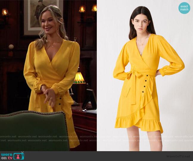 Sunny Yellow Wrap Tie Dress by Maje worn by Donna Logan (Jennifer Gareis) on The Bold & the Beautiful