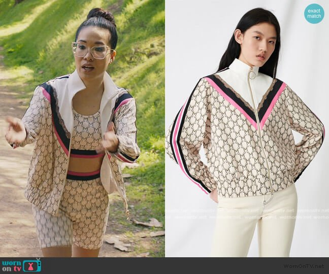 Track Jacket in Monogram by Maje worn by Doris (Ali Wong) on American Housewife