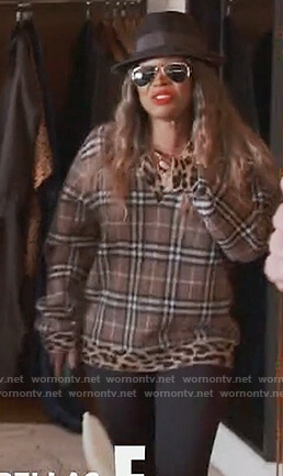 Malika's plaid and leopard trim sweater on Keeping Up with the Kardashians
