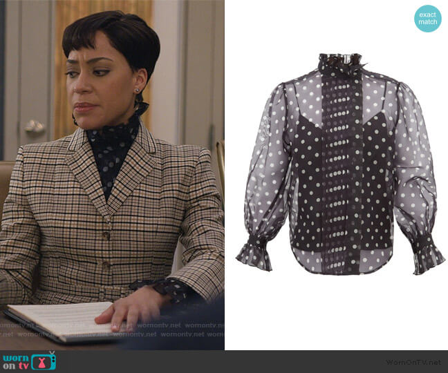 Polka-dot silk-organza blouse by Marc Jacobs worn by Lucca Quinn (Cush Jumbo) on The Good Fight