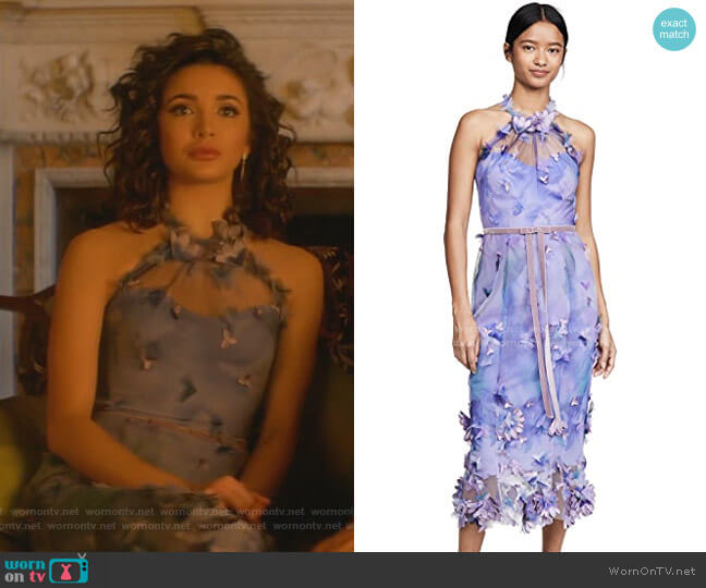 Sleeveless Tulle Halter Dress by Marchesa Notte worn by Bess (Maddison Jaizani) on Nancy Drew