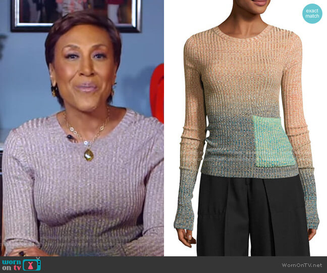 Marled Ombre Patch-Pocket Sweater by Acne Studios worn by Robin Roberts  on Good Morning America