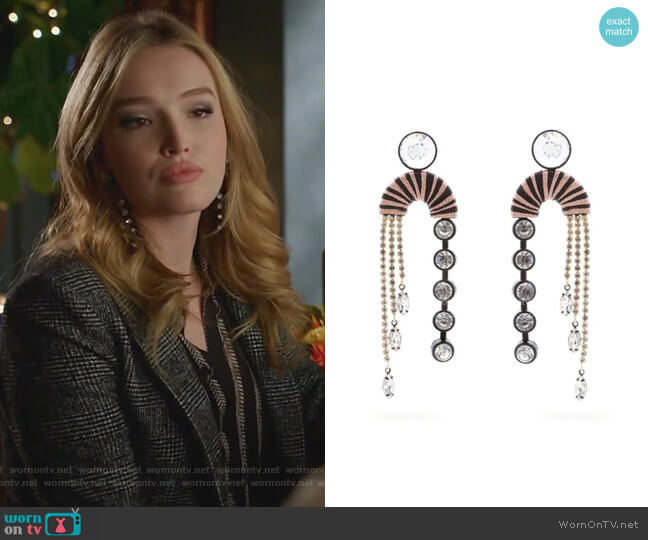 Alpha Crystal-Embellished Drop Earrings by Maryjane Claverol worn by Kirby Anders (Maddison Brown) on Dynasty