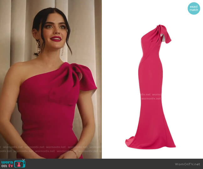 Accompany One-Shoulder Cady Gown by Maticevski worn by Katy Keene (Lucy Hale) on Katy Keene