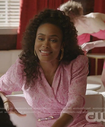 Mia's pink snake print wrap dress on Dynasty