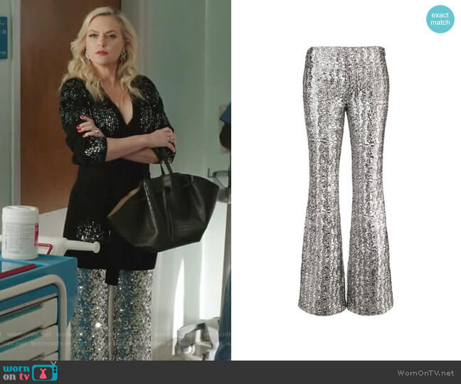 Glitter Effect Flared Trousers by Michael Kors Collection worn by Alexis Carrington (Elaine Hendrix) on Dynasty