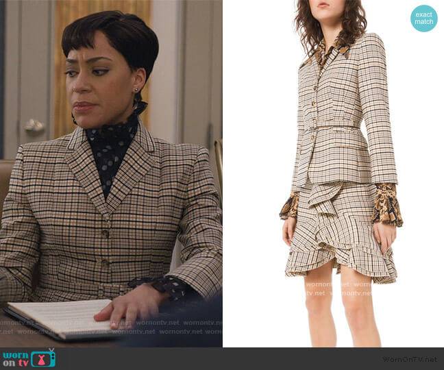 Fitted Plaid Stretch-Wool Blazer by Michael Kors worn by Lucca Quinn (Cush Jumbo) on The Good Fight