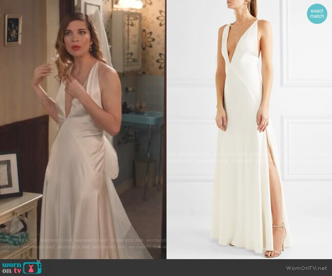 Alexandra Silk Crepe De Chine Gown by Michael Lo Sordo worn by Alexis Rose (Annie Murphy) on Schitts Creek