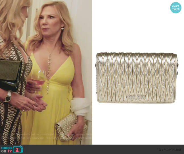 Quilted Clutch by Miu Miu worn by Ramona Singer  on The Real Housewives of New York City