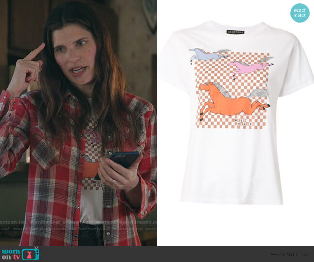 Horses print T-shirt by Monogram worn by Rio (Lake Bell) on Bless This Mess