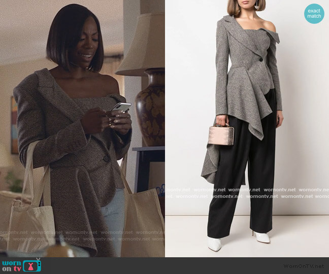 Asymmetric Deconstructed Blazer by Monse worn by Issa Dee (Issa Rae) on Insecure