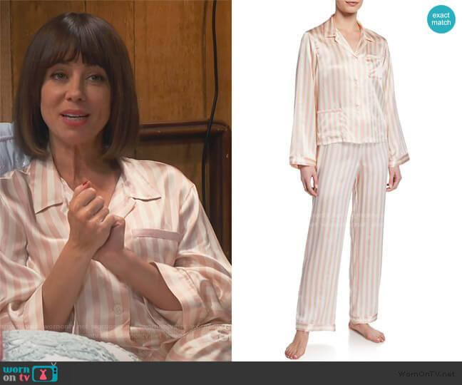 Ruthie Petal Stripe Pajama Top and Pants by Morgan Lane worn by Elizabeth (Natasha Leggero) on Broke