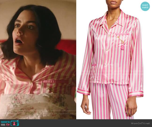 Ruthie Striped Silk Pajama Top by Morgan Lane worn by Katy Keene (Lucy Hale) on Katy Keene