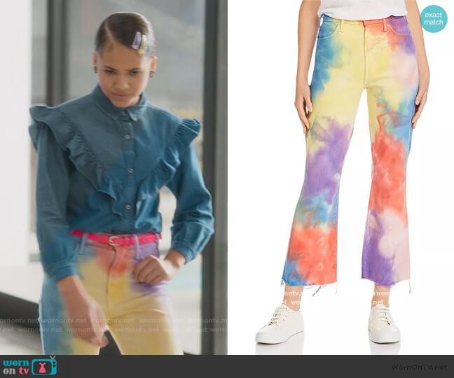 Hustler Tie-Dye Ankle Fray Flared Jeans in Mystical AF by Mother worn by Izzy Barris (Scarlet Spencer) on BlackAF