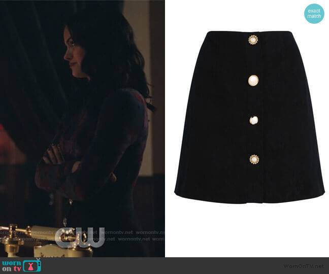 Molly Jacquard Mini Skirt by Mother of Pearl worn by Veronica Lodge (Camila Mendes) on Riverdale
