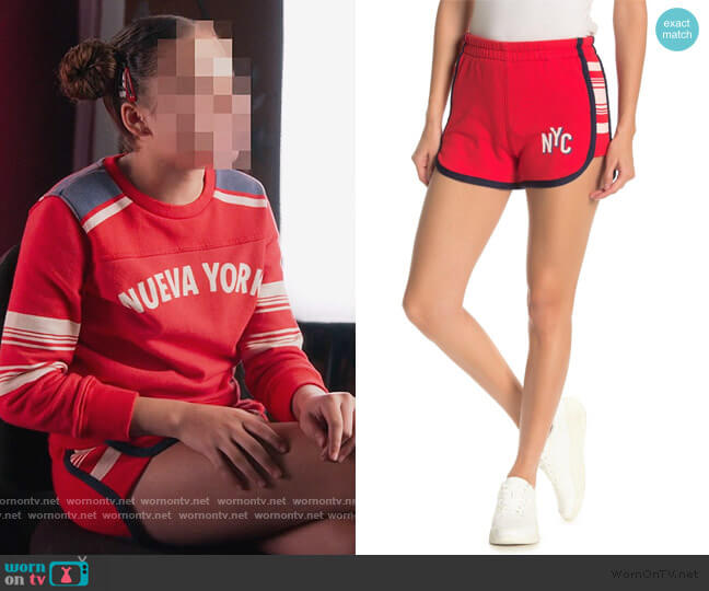 The Triple Running Mate Shorts by Mother worn by Izzy Barris (Scarlet Spencer) on BlackAF