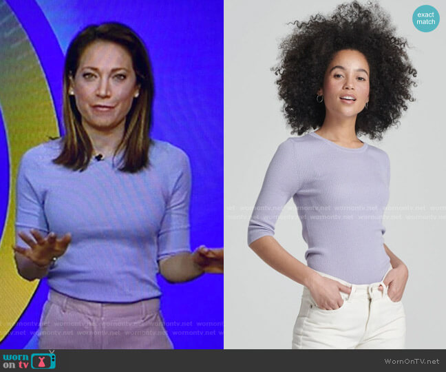 Quarter Sleeve Ribbed Top by Naadam worn by Ginger Zee  on Good Morning America