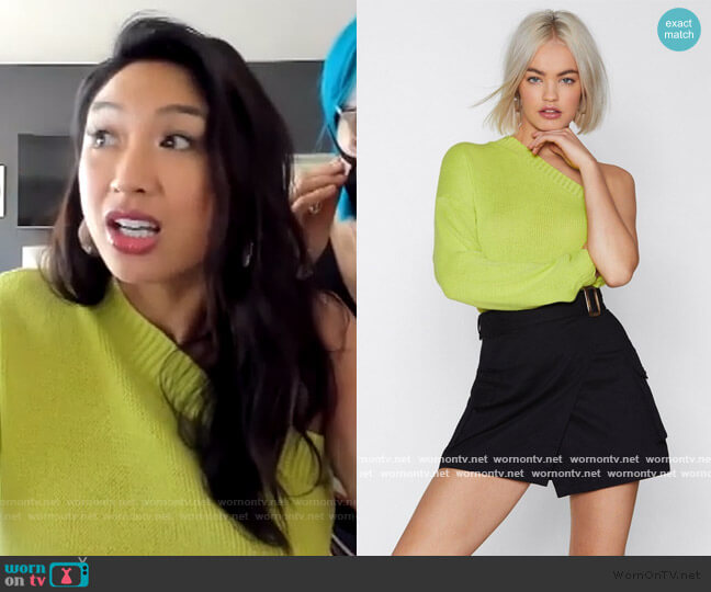 You Gotta Be in It One Shoulder Sweater by Nasty Gal worn by Jeannie Mai  on The Real