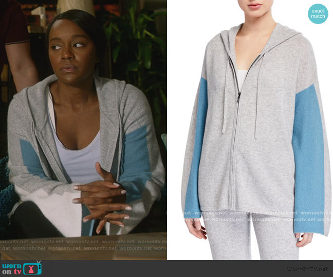 Cashmere Colorblock Zip-Front Hoodie by Neiman Marcus worn by Michaela Pratt (Aja Naomi King) on HTGAWM