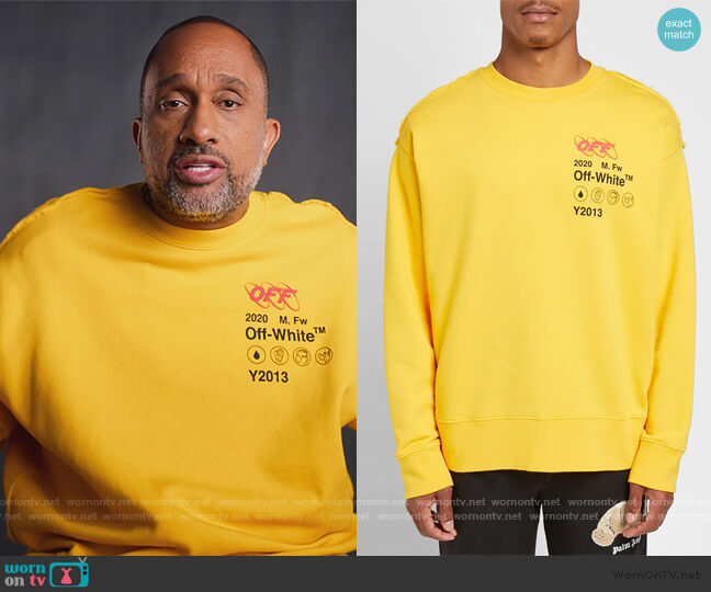 Industrial Yellow Y13 Sweatshirt by Off-White worn by Kenya Barris  on BlackAF