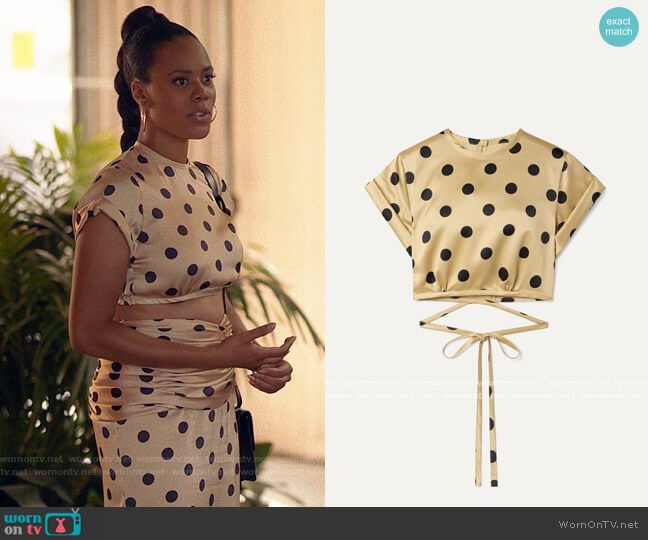 Orseund Iris Le Club cropped polka-dot satin top worn by Condola (Christina Elmore) on Insecure