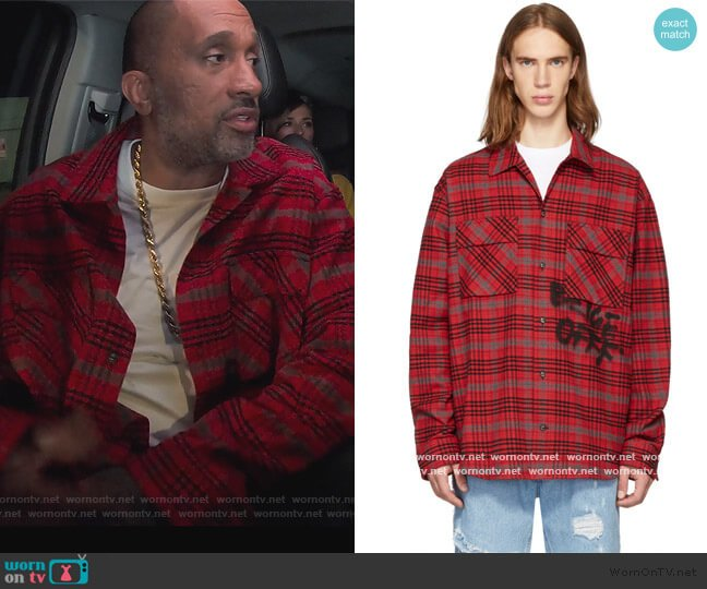 Red & Black Flannel Check Shirt by Off-White worn by Kenya Barris  on BlackAF