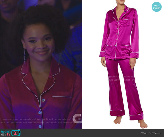 Coco Silk-Charmeuse Pajama Set by Olivia Von Halle worn by Vanessa (Jade Payton) on Dynasty