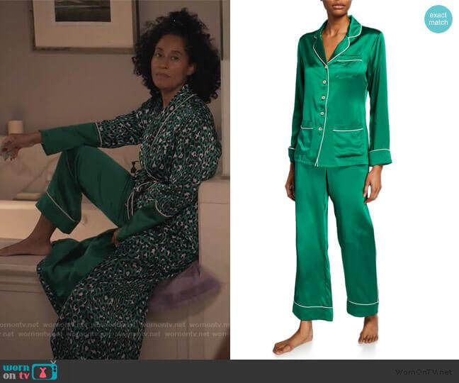 Coco Lagoon Classic Silk Pajama Set by Olivia Von Halle worn by Rainbow Johnson (Tracee Ellis Ross) on Blackish