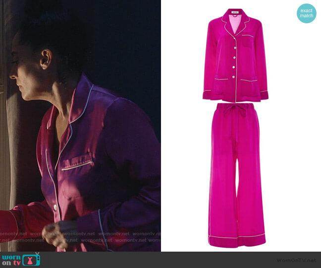 Gigi Silk Pajama Set by Olivia von Halle worn by Rainbow Johnson (Tracee Ellis Ross) on Blackish