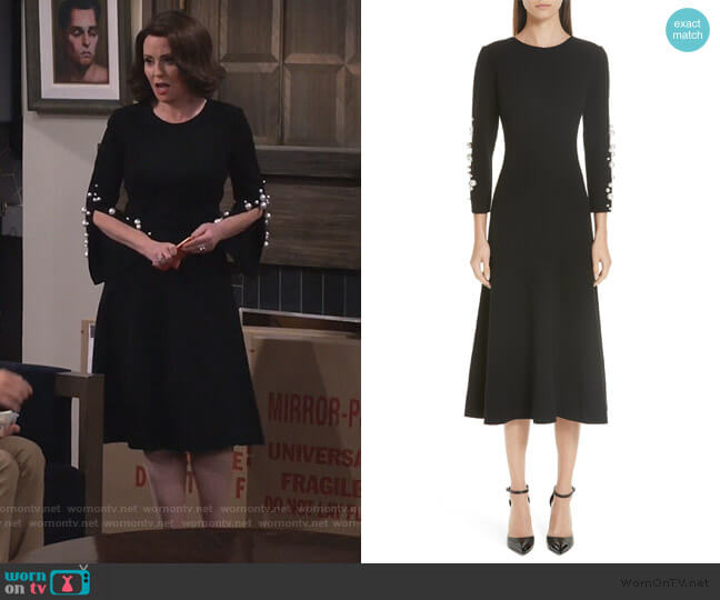 Imitation Pearl Embellished Stretch Wool Crepe Dress by Oscar de la Renta worn by Karen Walker (Megan Mullally) on Will & Grace