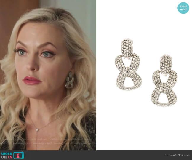 Crystal Pavé Chain Link Clip-On Earrings by Oscar de la Renta worn by Alexis Carrington (Elaine Hendrix) on Dynasty