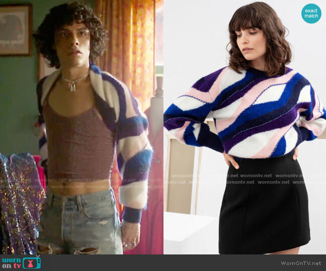 & Other Stories Embellished Colour Wave Sweater  worn by Jorge Lopez (Jonny Beauchamp) on Katy Keene