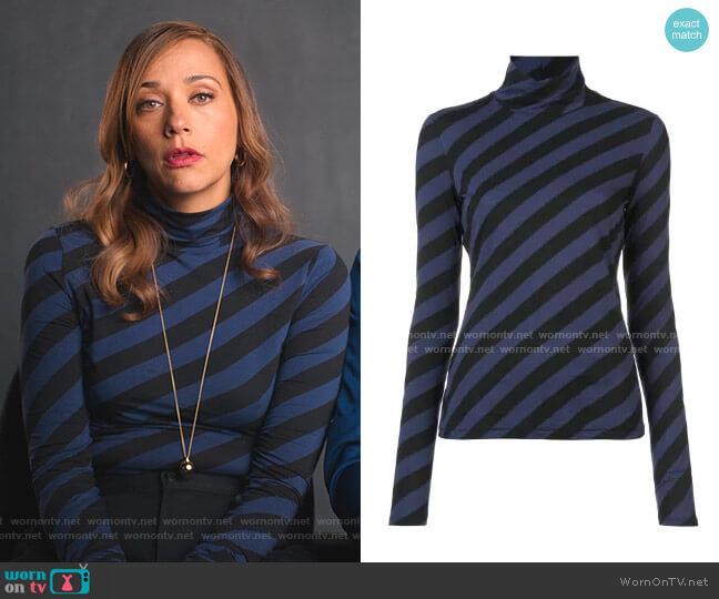 PSWL Diagonal Stripe Turtleneck Top by Proenza Schouler worn by Joya Barris (Rashida Jones) on BlackAF
