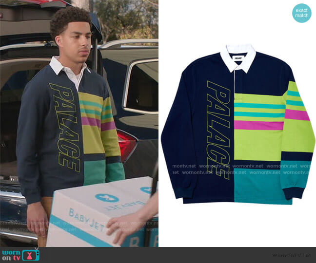 Pronto Rugby Navy Shirt by Palace worn by Andre Johnson Jr (Marcus Scribner) on Blackish