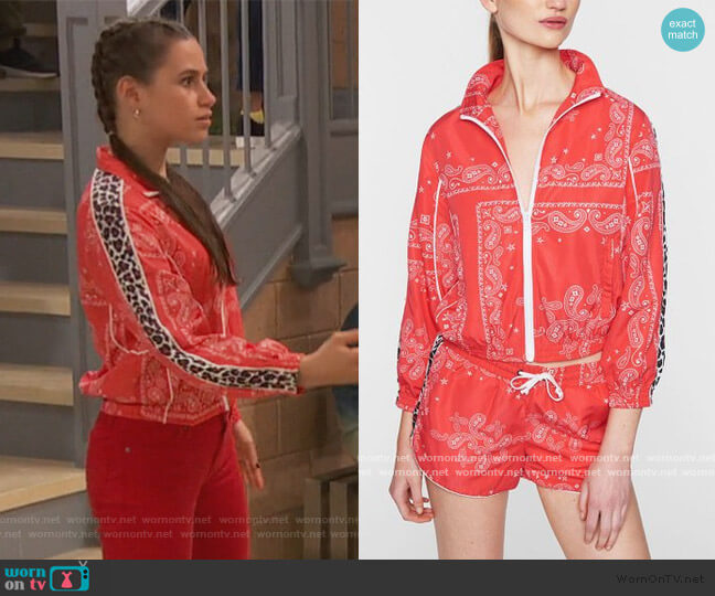 Red Paisley Leopard-Stripe Track Jacket by Pam & Gela worn by Tess O'Malley (Sky Katz) on Ravens Home