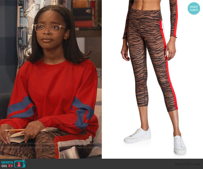 Tiger Stripe High-Rise 7/8 Leggings by Pam & Gela worn by Diane Johnson (Marsai Martin) on Blackish